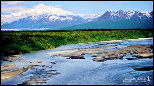 Chulitna River and the Alaska Range, photographed in Matanuska-Susitna Borough, Alaska (31 May 2011). Day 01 of the 2011 Roadtrip from Alaska to Florida (Mile 0134 of 7221).